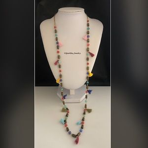 Plunder Shayla Necklace - Multi tassels & beads